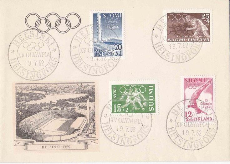 FDC Finland 1952 Helsinki Summer Olympic Games Scott B110-113