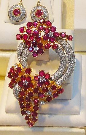 Burmese ruby jewelry broche | Gemstone Jewelry Wholesale