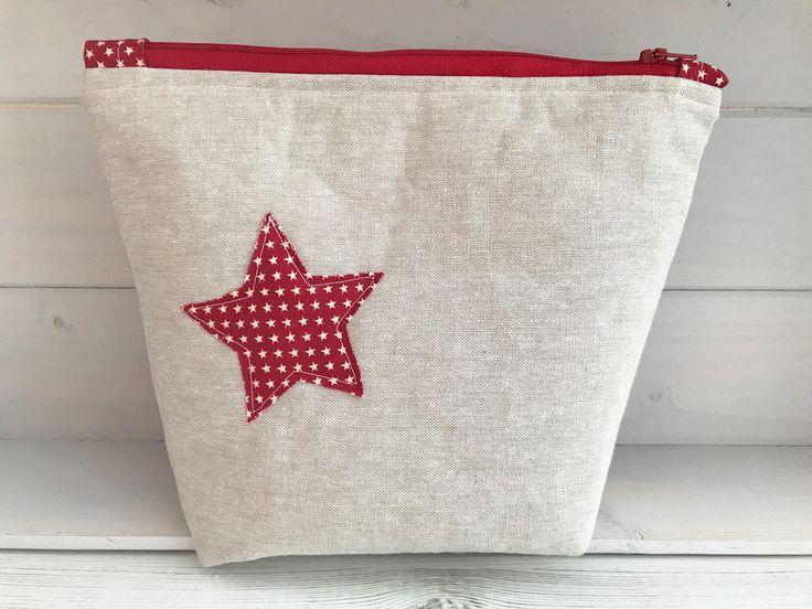 Star bag, Make up bag, Project bag, Zipper bag, Stars, Cosmetic bag, Hobby bag, Craft storage, Gifts for her, Christmas bag, Toiletry bag