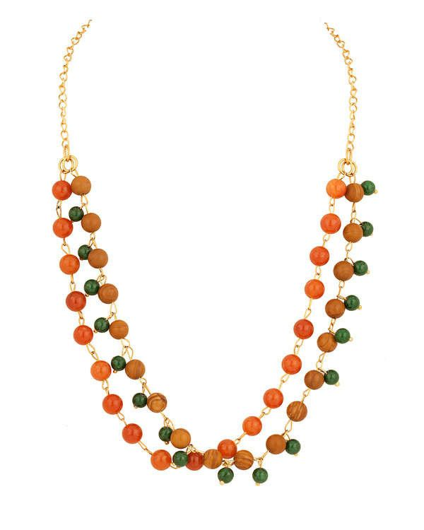 TRENDY NECKLACE WITH MULTICOLOR BALL BEADS