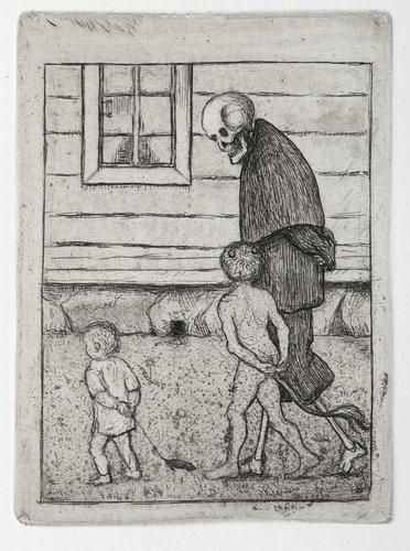 "Artwork by Hugo Simberg, ""PLAYMATES"", Made of Etching"