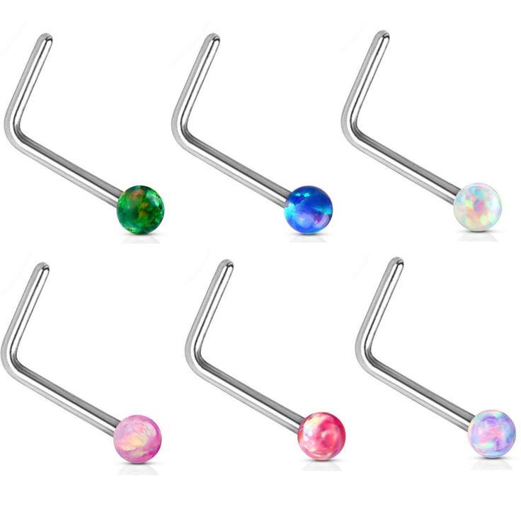 BodyDazz.com - 14Kt White Gold Opal Ball L Shaped Nose Ring 20G, $24.99 (https://www.bodydazz.com/14kt-white-gold-opal-ball-l-shaped-nose-ring-20g/)