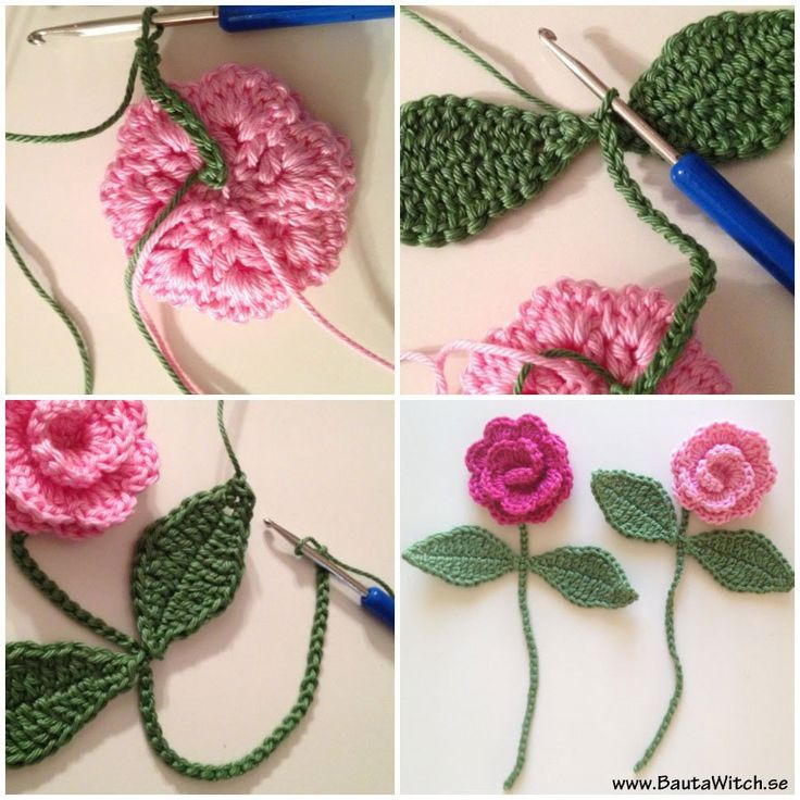 Crochet rose bookmark (pattern is in Sweedish)