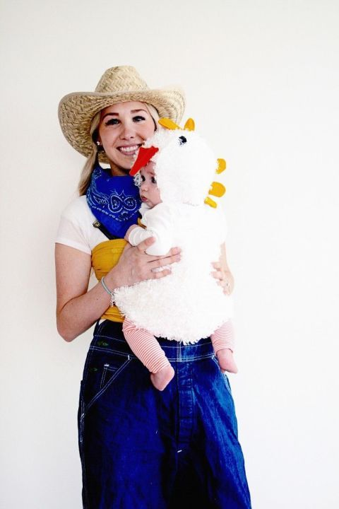Get your man in on the fun by having him dress up like a farmer, too, with this DIY Farmer and Chick costume. The real chicks won't know the difference!