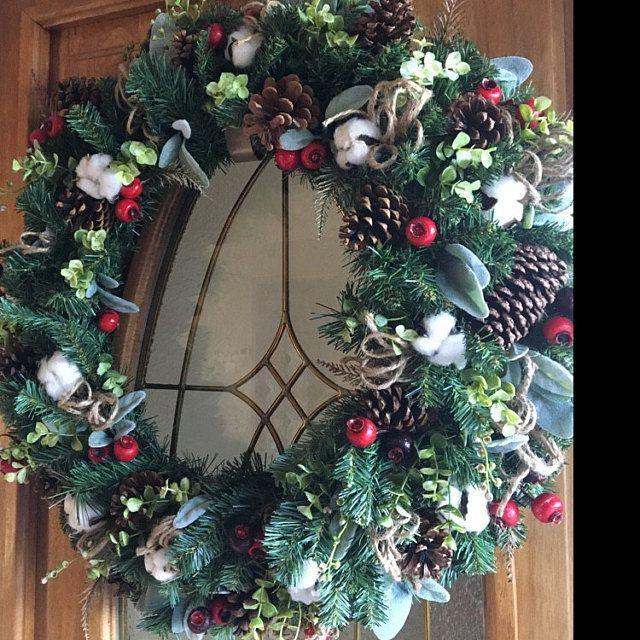 Christmas Wreath Farmhouse Christmas Cotton Wreath Christmas Wreaths For Front Door Christmas Wreaths Christmas Wreaths For Front Door Artificial Christmas Wreaths