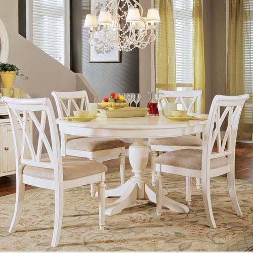 """48"""" table, like these chairs too! Have to have it. American Drew Camden 5 pc. White Round Pedestal Dining Table Set - $2175 @hayneedle"""