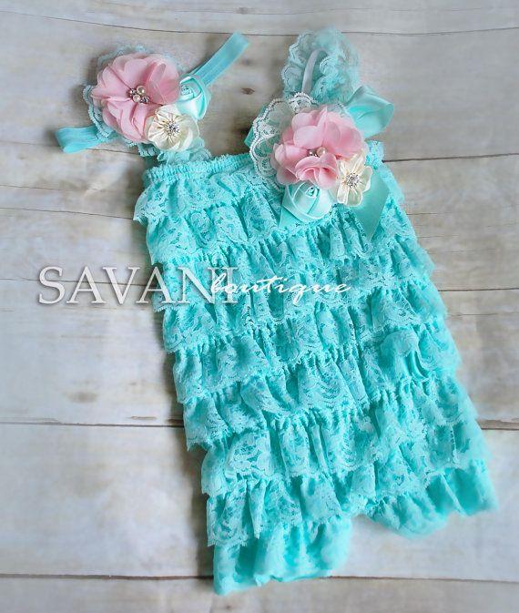 baby lace romper, 3pcs set, aqua pink  lace romper set. Lace Petti Romper , headband and clip, Baby Girl Photo Prop
