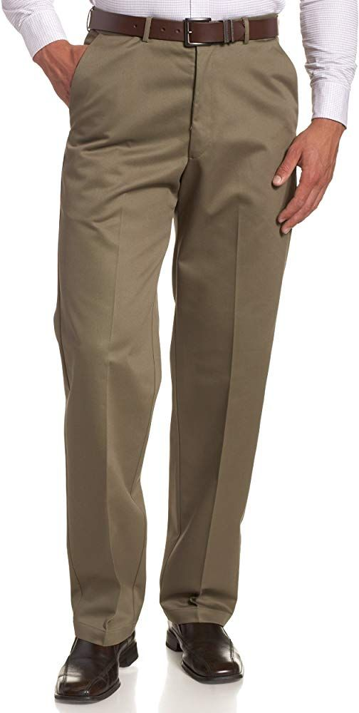 Haggar Men S Work To Weekend Hidden Expandable Waist No Iron Plain Front Pant Khaki 38x29 At Amazon M In 2020 Best Mens Pants Mens Pants Fashion Mens Clothing Styles