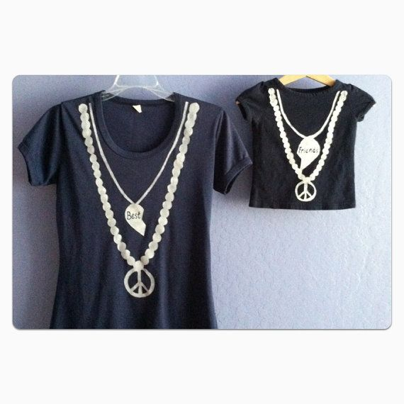 Mommy and Me matching best friends necklace t shirts, $24.00