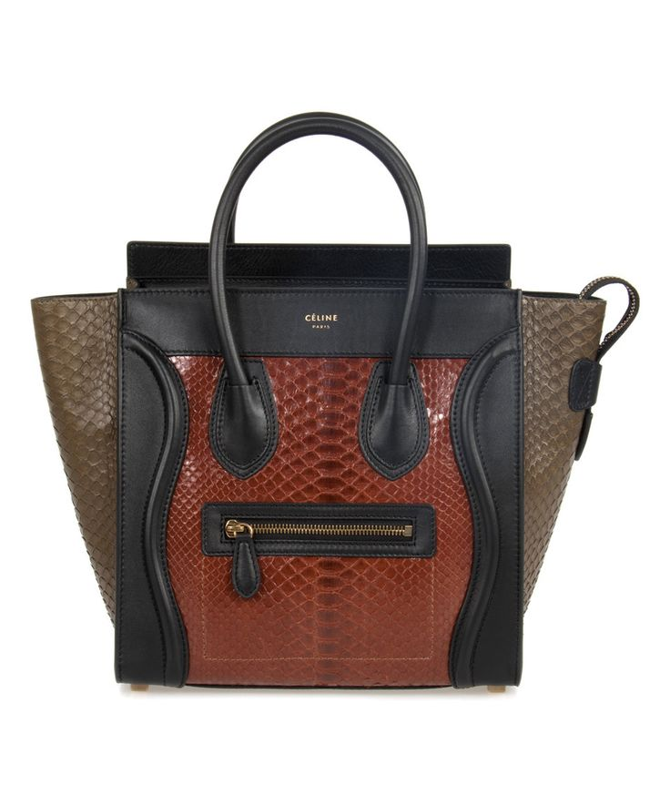 Take a look at this Céline Rust Brown & Taupe Python-Print Micro Leather Tote today!