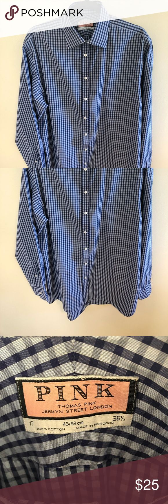 Thomas Pink blue checkered 17 shirt Size: 17           43/93 cm          36 1/2 Blue checkered shirt in excellent condition. Minor flaws shown in pictures- a bit worn around collar and cuff, not noticeable unless putting shirt right up to eye Thomas Pink Shirts Dress Shirts