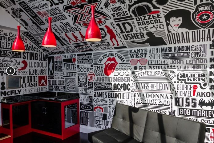 Olly Murs music room by Alex Fowkes. I want to live here and never leave. #typography #decorating Source: https://www.behance.net/gallery/9755555/Olly-Murs-Music-Room
