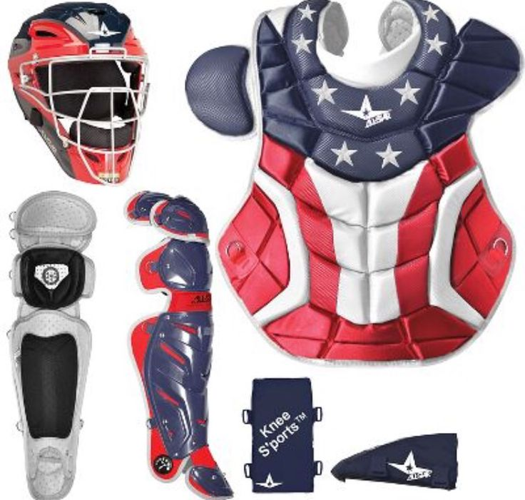 Red white and blue American flag softball catching gear.