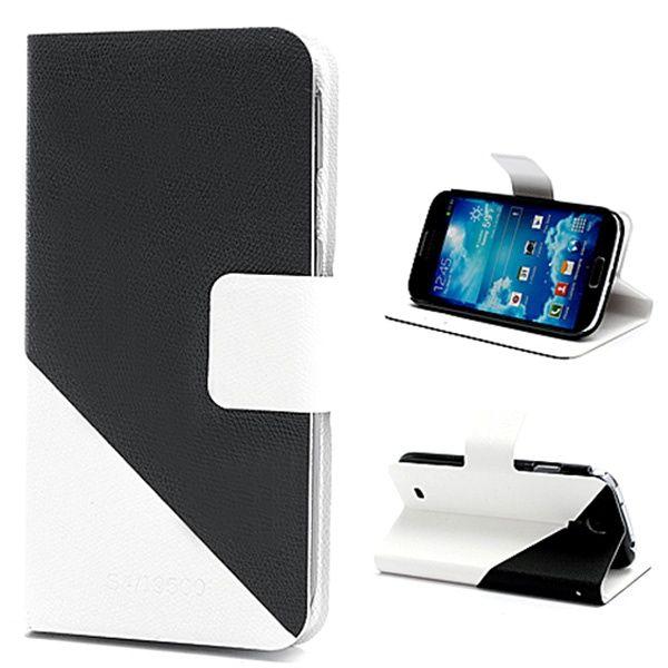 Samsung Galaxy S4 I9500, I9505 Plånbok Läderväska - Svart / Vit