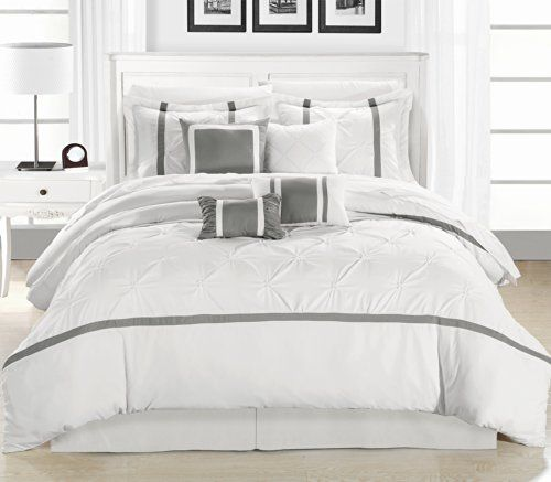 Chic home vermont white silver 12 piece bedding comforter for Elegant white comforter sets