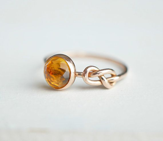 Citrine Ring Eternity Symbol Infinity Knot Ring Rose by Luxuring