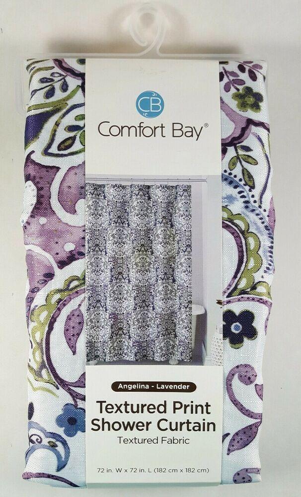 Purple Lavender Floral Shower Curtain Fabric Comfort Bay 72 X 72