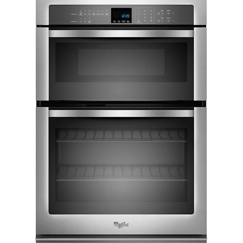 """Whirlpool - 27"""" Single Electric Wall Oven with Built-In Microwave - Stainless-Steel - Larger Front"""