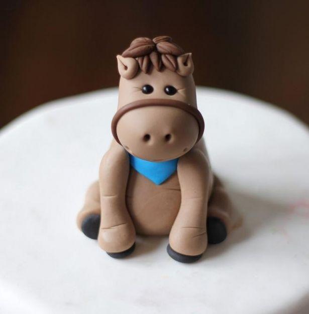 Fondant Cake Topper - Whimsical 3D Fondant Horse Pony Cake Topper by Les Pop Sweets on Gourmly