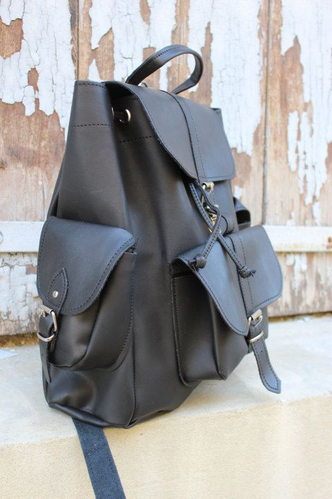 LEATHER BACKPACK  black backpack Leather Rucksack  by EATHINI