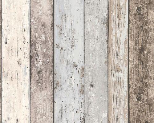 AS-CREATION Vliesbehang Planken, bruin-blauw