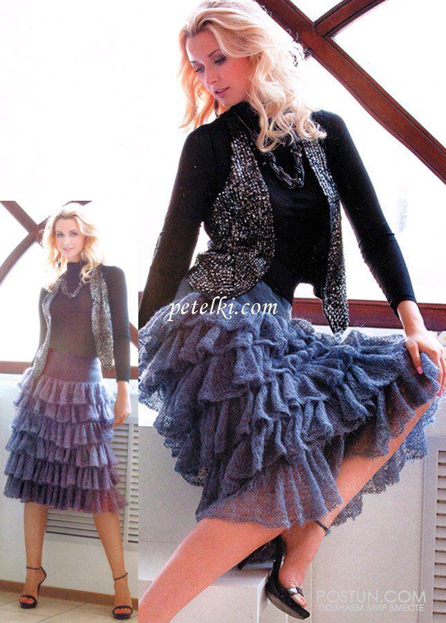 Длинная кружевная юбка из мохера с оборками вязанная спицами и крючком | Блог elisheva.ru