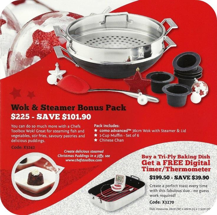 Wok & Steamer Bonus Pack  $225.00- SAVE $101.90  www.dorothywilliams.thechefstoolbox.net