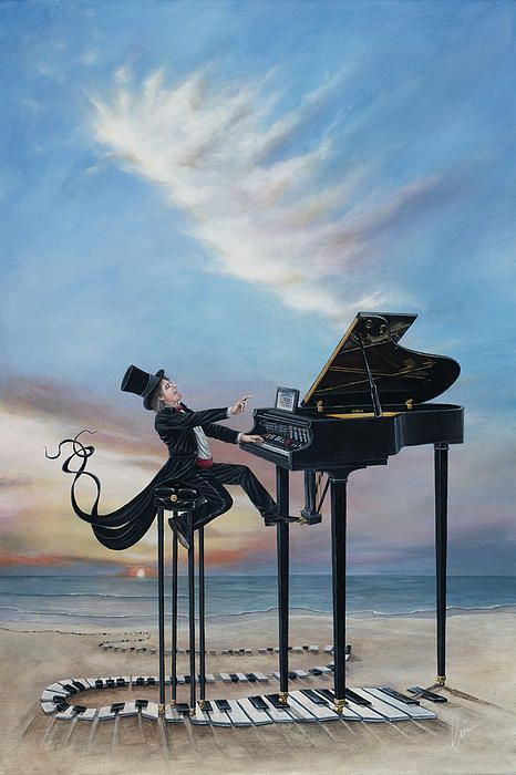Journey of Pianist- surrealism painting