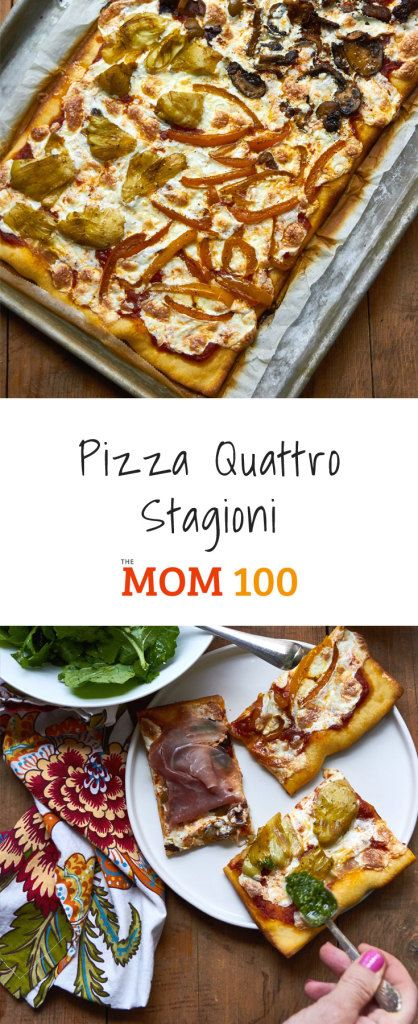 Pizza Quattro Stagioni / Pizza Quattro Stagionni literally means four seasons pizza.  It is typically divided into quadrants, with the toppings on each quarter.  #dinnerideas #dinnertime #familymeal #recipe  #pizza