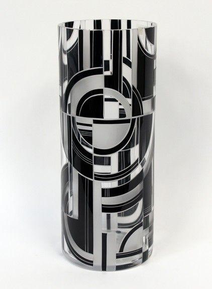 Art Deco Enameled Vase  ----  by Karl Palda  ---  Bohemia, c.1930