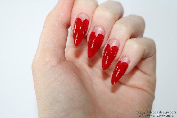 Stiletto Nails Red Heart Tip Stiletto Nails Fake Nails Etsy
