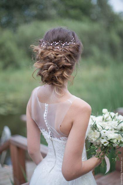 Wedding decor hairstyle / Свадебные украшения ручной работы. Свадебное украшение для волос. Svetlana (iswedding). Интернет-магазин Ярмарка Мастеров. Украшение из бусин, венок