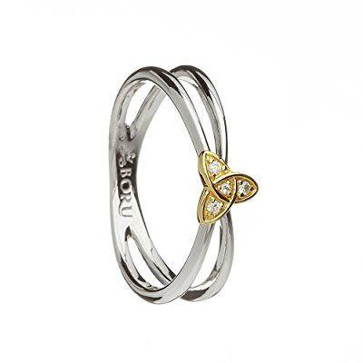 Trinity Knot Wishbone Ring Silver and 10K Gold CZ Irish Made