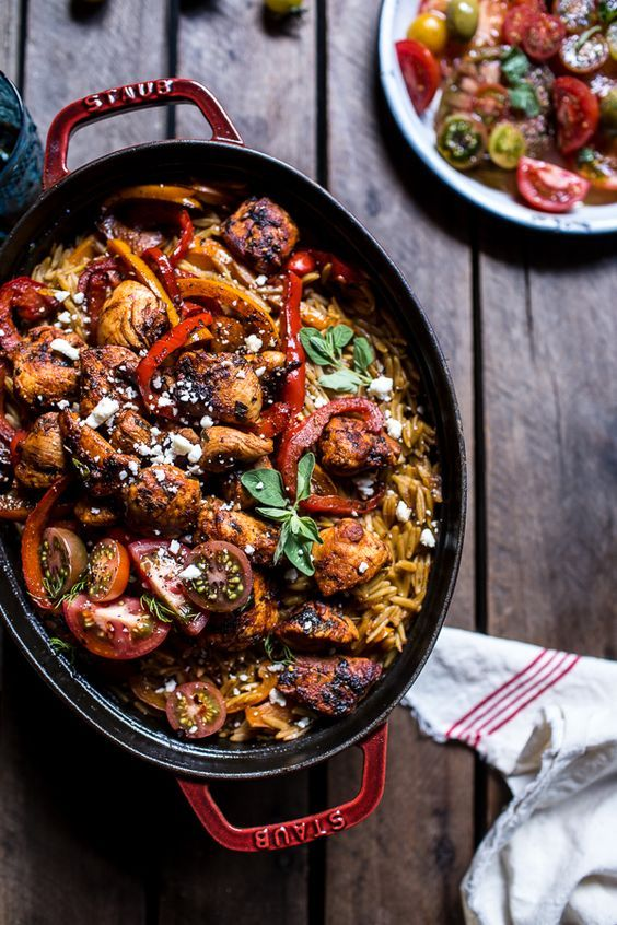 One-Pot Greek Oregano Chicken and Orzo with Tomatoes in Garlic Oil | halfbakedharvest.com