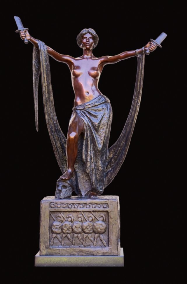 Resistance, symbolising a universal denouncing of violence and abuse, especially against women.  660 mm high.