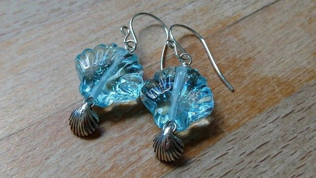 Aqua sea shell sterling silver earrings £18.00