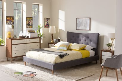 Baxton Studio Hannah Mid-Century Modern Dark Grey Fabric Queen Size Platform Bed