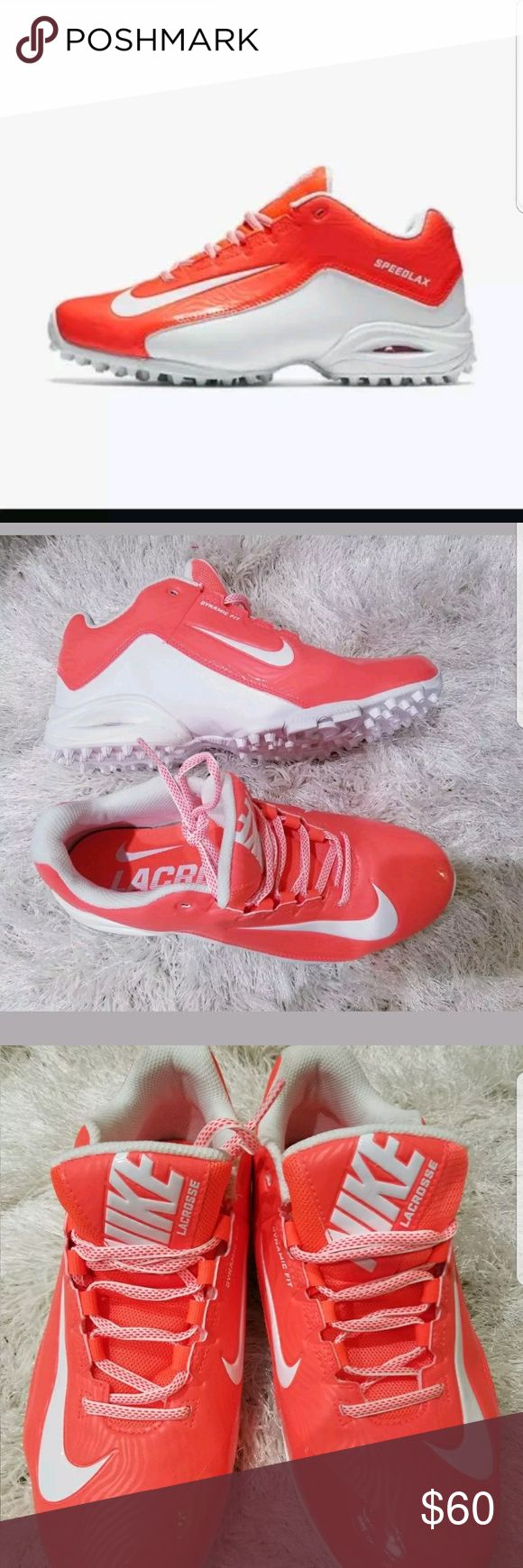 Nike Lacrosse Cleat SpeedLax 5 Turf shoes Orange New Women's Lacrosse Cleat Nike SpeedLax 5 Turf shoe in Orange 807157-811   Size 9.5  Condition - Brand new without box   Benefits   Synthetic upper for comfort and durability  Dual-pull fit system for dynamic lockdown  Phylon midsole for cushioning and support  Low-profile forefoot for optimal feel and responsiveness  Rubber turf bottom for traction   Thanks for looking! Nike Shoes