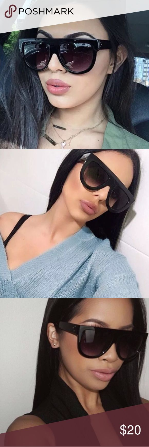 """Luxury Flat Top Sunglasses 💕 * The """"It"""" sunnies of the season * Features three dots on the side * UV400 faded lenses * Lens Width: 56mm * Nose Bridge: 16mm * Lens Height: 49mm * Total Width: 142mm  Now available! Accessories Sunglasses"""