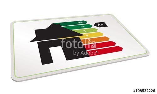 Vektor: Effizientes Haus mit Energieausweis, Energieeffizienz, Energielabel