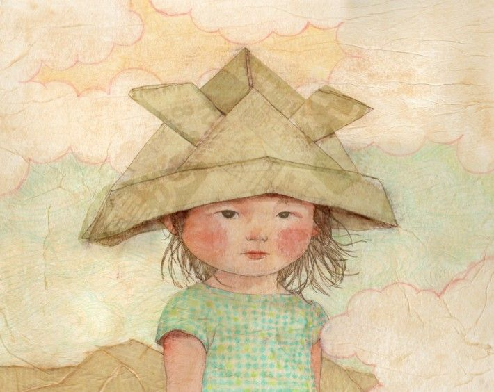 Paper Kabuto (Samurai helmet) illustration by Felicia Hoshino