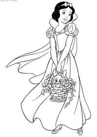 Белоснежка с корзинкой - скачать и распечатать раскраску. Раскраска Принцесса Белоснежка раскраски для печати