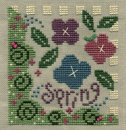 Spring cross stitch by Bent Creek. I made mine into a little pillow.