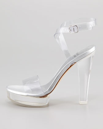 Dreams come true with this Cinderella sandal! Lucite is sooo amazing! Delicate and feminine...  Visual Clear Platform Sandal - Neiman Marcus