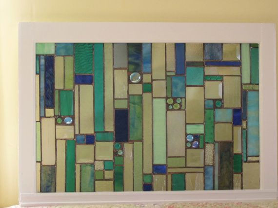 Stained Glass Art Hanging...  Fireplace Mantle Art...   Window table on Etsy, $475.00