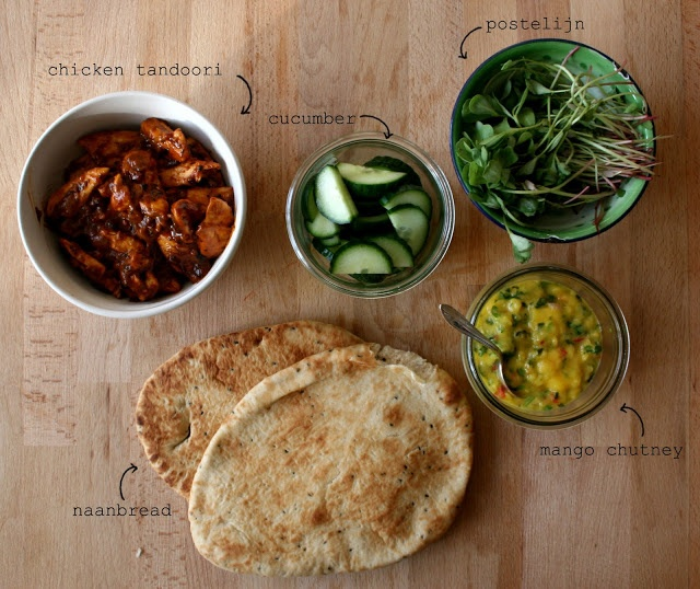recept kip tandoori met naanbrood en mangochutney