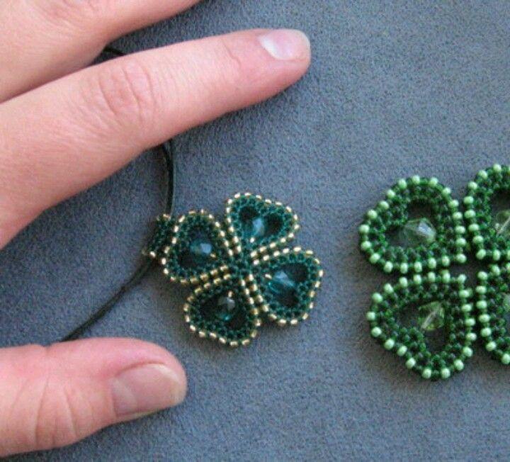 beaded hearts into shamrock four leaf clover st patrick's day irish ireland