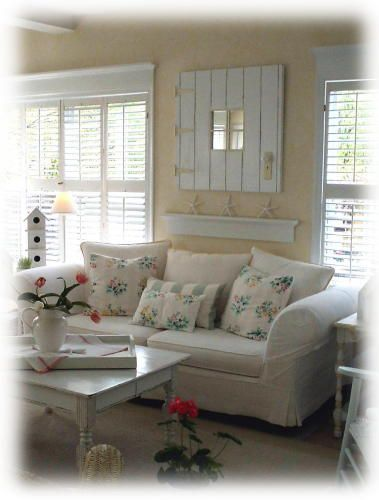 shaby chic living room....need that wall color