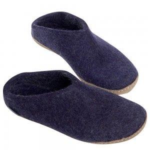 Glerups Danish House Mules - Purple Felted Wool