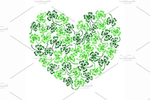 Doodle clover shamrock heart vector by Art By Silmairel on Creative Market